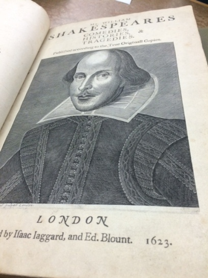 The first Shakespeare folio, printed in 1623 by SHakespeare's friends, contains almost all of his plays. Special Collections owns four of his folios, an incredibly rare collection.