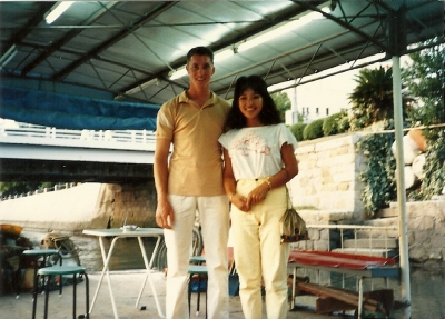 My parents' first date at the Motoyasu River.