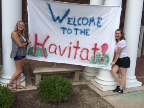 Meibers and her roommate Carly outside their dorm, Havighurst