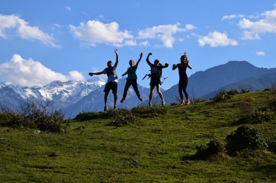 Four of my friends on top of Julian Mountain in Kangding | Photo by Angela Day